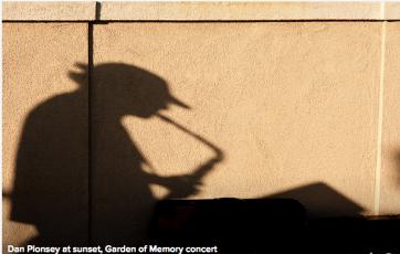 Dan Plonsey at sunset at the Garden of Memory