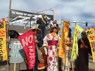 Chizu Hamada with the No Nukes Action speaks at today's protest on the 708th anniversary of the dropping of the Atomic bomb over Hiroshima