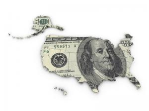 Hundred Dollar Bill in The Shape of the USA