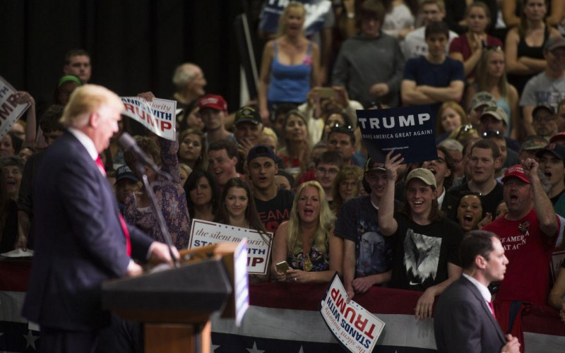 WEST CHESTER, PA - APRIL 25: Republican presidential candidate Donald Trump speaks at a campaign rally on April 25, 2016 at West Chester University in West Chester, Pennsylvania. Pennsylvania will vote in the primary election tomorrow April 26, 2016. (Photo by Jessica Kourkounis/Getty Images)
