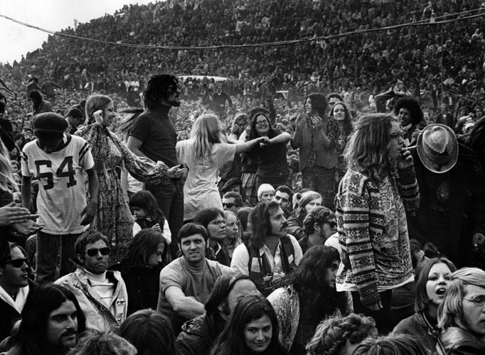 LIVERMORE, CA - DECEMBER 6: Some of the 300,000 celebrants enjoy the early part of the day at The Altamont Speedway on December 6, 1969 in Livermore, California.   (Photo by Robert Altman)