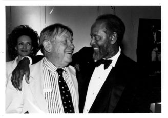 Phil chatting with Percy Heath. 1996