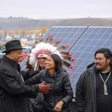 Cece Carpio visited Standing Rock in late October to deliver solar panels developed by Diné scientists. Reverend Jesse Jackson joined them.