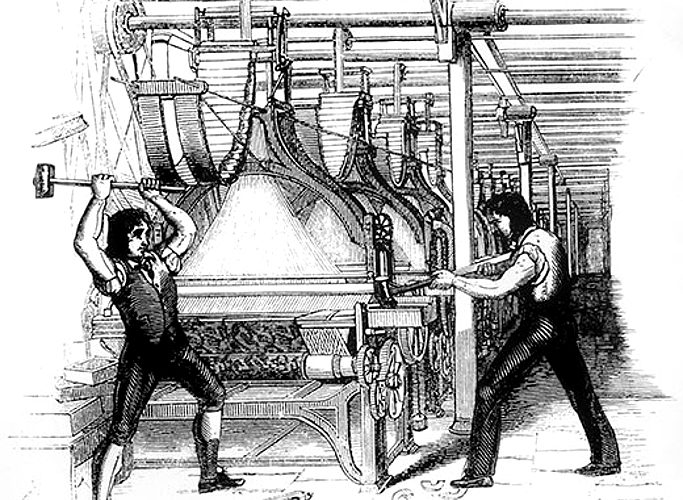 Frame-breakers, or Luddites, smashing a loom. Machine-breaking was criminalized by the Parliament of the United Kingdom as early as 1721, the penalty being penal transportation, but as a result of continued opposition to mechanization the Frame-Breaking Act 1812 made the death penalty available.