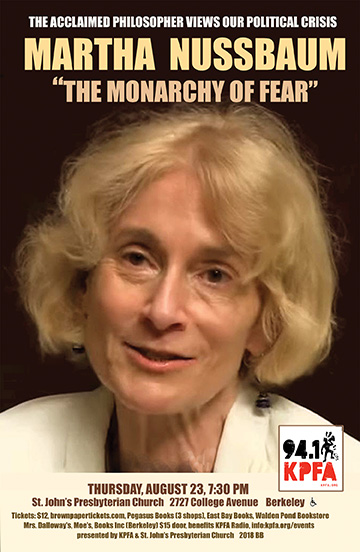 Martha Nussbaum: The Monarchy of Fear @ St. John's Presbyterian Church | Berkeley | California | United States