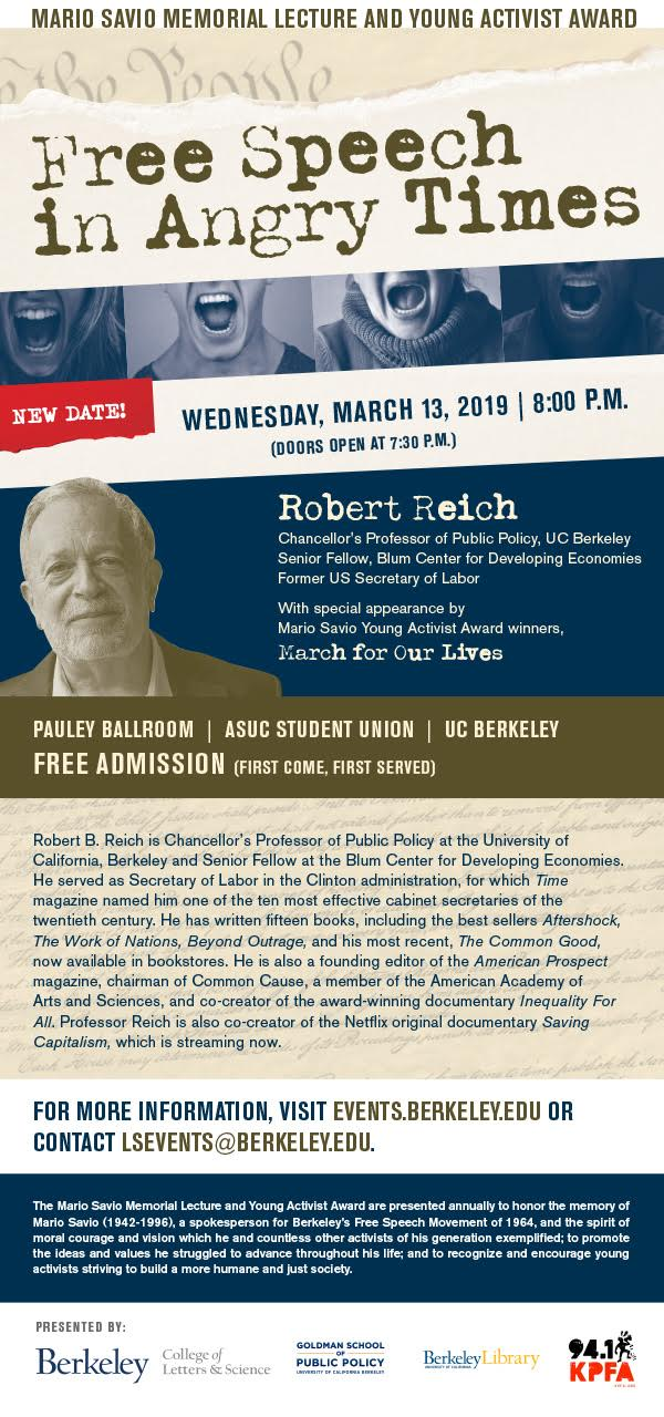 Robert Reich: Free Speech in Angry Times @ ASUC Student Union