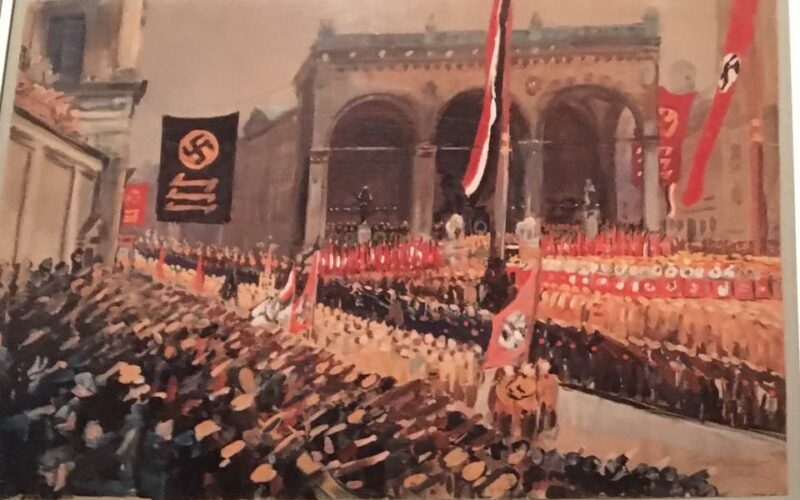 Painting of Munich, Germany during the rise of the National Socialists.