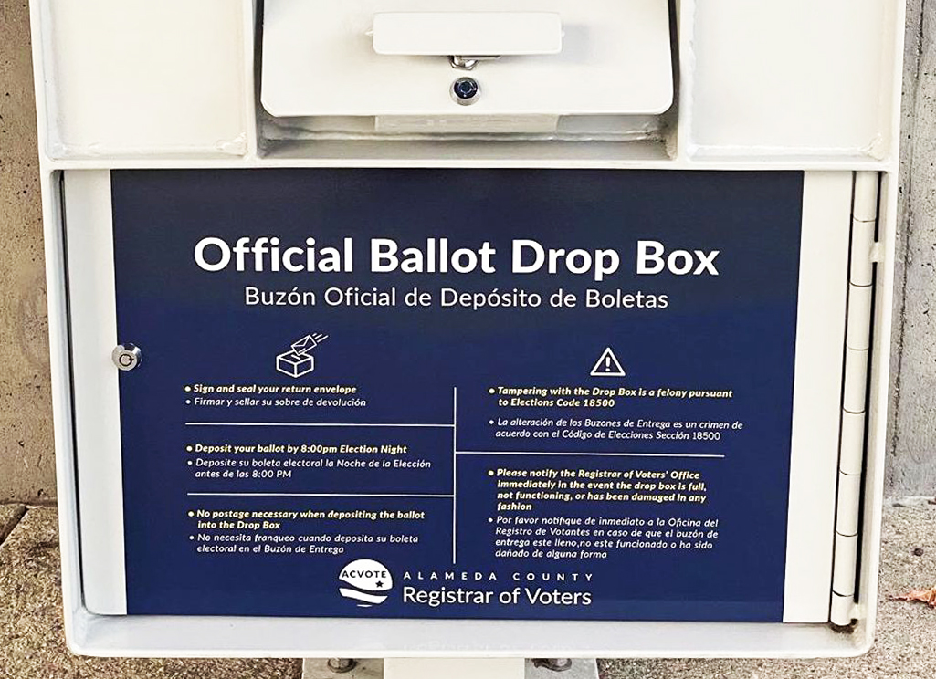 Photo of Alameda County ballot drop box by @stevenkolson on Instagram.