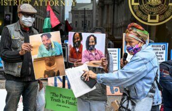 Protest to demand the freedom of Mumia Abu-Jamal.