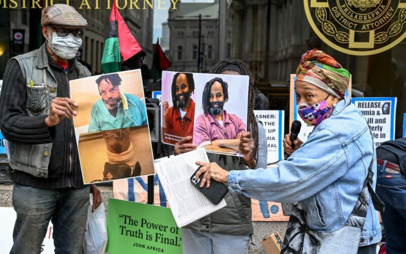 Protest to demand the freedom of Mumia Abu-Jamal.